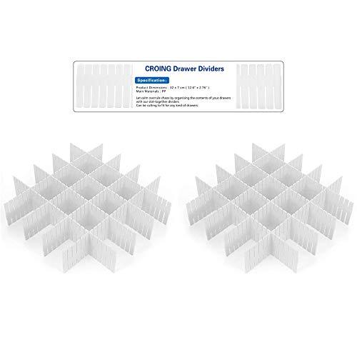 CROING - 16 Pezzi Bianco - Divisori per Cassetti, Fai da Te Organizzatore per Cassetti