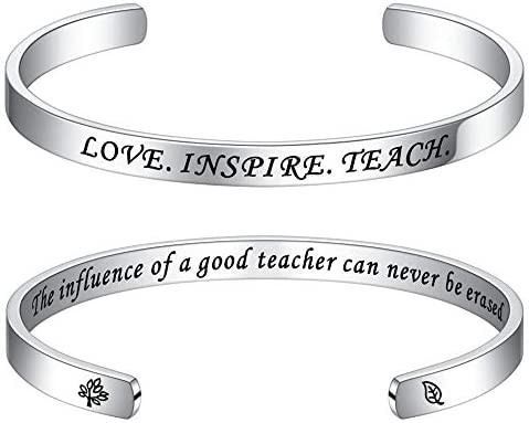 Teacher Gifts End Of Year Bracelets Engraved Quote Cuff Bangle Teacher Gifts Bracelet End Of product image