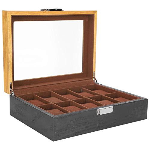 Caja de reloj, organizador de reloj de madera maciza anticaídas y arañazos, para regalo, novio, hombre, tienda, reloj