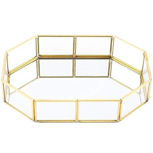 Bolsas de Maquillaje - Organizador de joyería de Maquillaje Bandeja de Cristal reflejada Decorativa casera(S)
