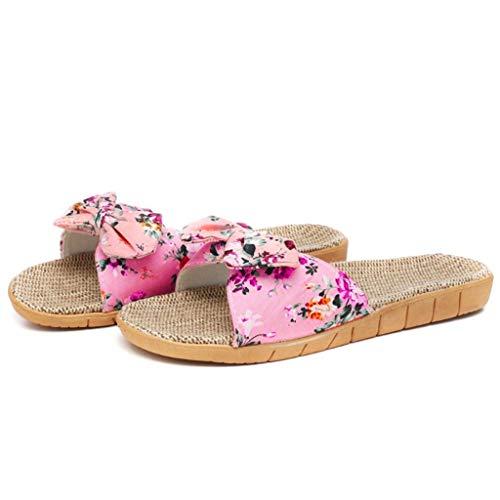 Zapatillas de Estar por casa Mujer Chica Bohemia Bowknot Zapatos Chanclas de Playa Verano Otoño Sandalias Zapatillas de casa de Lino