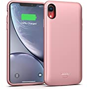 Lonlif Battery Case for iPhone XR, 5000mAh Portable Charging Case Protective Extended Battery Charger Case Compatible with iPhone XR (Rose Gold)