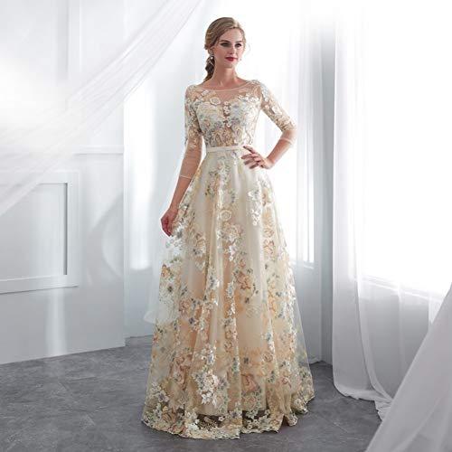 BINGQZ Damen/Elegant Kleid/Cocktailkleider Floral Prom Dresses Lace 3/4 Ärmel A-Linie Champagner Gürtel Empire-Taille Lange Abendkleider Vestido De Formatura
