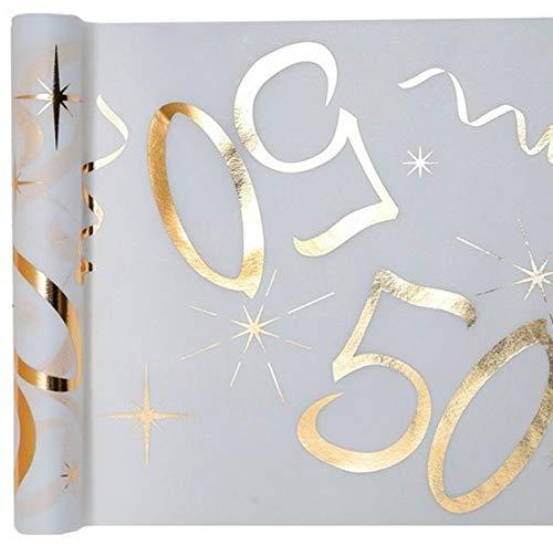 Chal - Chemin de table anniversaire 50 ans métallisé or
