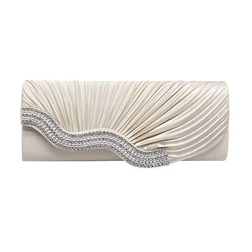 Deloito Mode Damen Einfarbig Schultertasche Plissierte Clutch Umhaengetasche Strass Handtasche Party Dinner-Tasche Kette Telefon Abendtasche (Beige)
