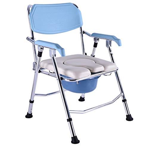 XXLY rolstoel, draagbaar aluminium douchestoel/commode stoel - mobiele toiletstoel, opklapbare toiletbril, multifunctionele stoel met armleuningen