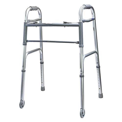 MediChoice Dual-Release Two Button/Folding Walker, Height Adjustable with 3 Inch Wheels, Aluminum, 300 lb. Capacity (1 Each)