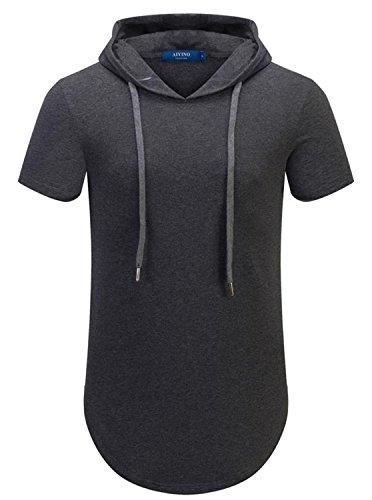 AIYINO Herren Hip Hop Kurzarm / Langarm Pullover Hoodies T-Shirt Gr. XL, A3-dunkelgrau