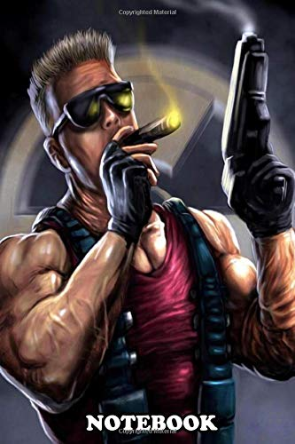 Notebook: Oil Painting Of Gaming Hero Duke Nukem Smoking A Cigar , Journal for Writing, College Ruled Size 6