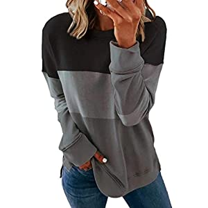 Acelitt Women Long Sleeve Crewneck Sweatshirt Side Split Pullover Tops