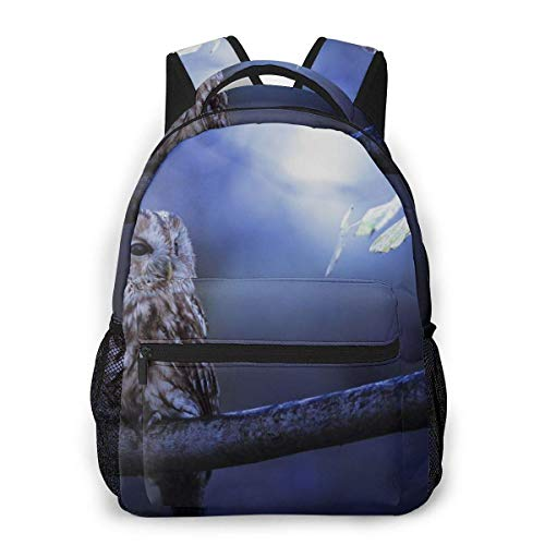 Computer Rucksack Waldkauz im Mondschein Männer und Frauen Casual Style Leinwand Rucksack Schultasche,