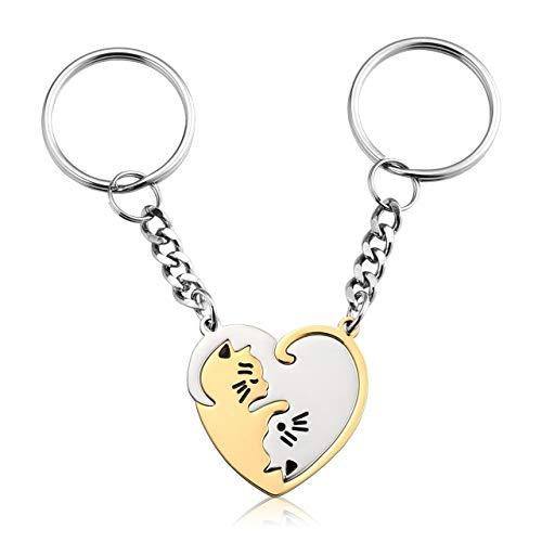 JOVIVI Juego de 2 llaveros con forma de corazón de plata y oro inoxidable, diseño de gato Ying Yang y gato, para él y para ella, amistad, mejor amiga, Sin grabado., 28*28mm,