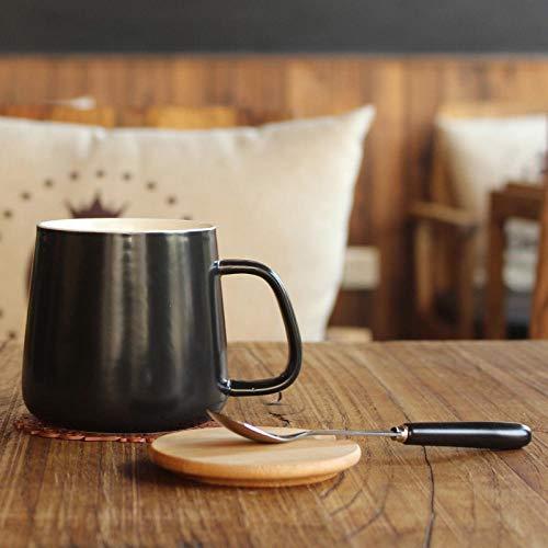 Juego De Tazas De Café De Cerámica De Gran Capacidad Oficina Pareja Bebida Taza De Agua Cubierta De Bambú Accesorios De Cocina Kupa Bardak Ba50Mk-Black_Bamboo_Cover_300-400Ml