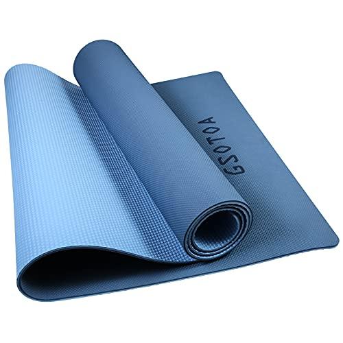 GSOTOA Yoga Matte, Sportmatte Fitnessmatte Rutschfest, Jogamatte Yoga Mat mit Tragegurt und Tasche, TPE Gymnastikmatte Yogamatte Dicke 6mm für Heim-Fitnessstudio - 183 x 61cm (Blau+Hellblau)