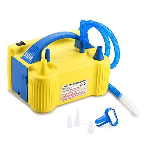 MESHA Electric Balloon Pump Air Pump Inflator Portable Dual Nozzle Yellow Air Balloon Pump Filler Inflator/Blower for for Balloon Arch,Balloon Column Stand 110V 600W Air Pump (Yellow)