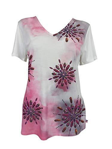 Alex(e) T-Shirt Femme Manches Courtes Vêtement Top Haut Col-V Made in France Grandes Tailles Mode Ete Chic Imprimé Oscar (Fushia, M)