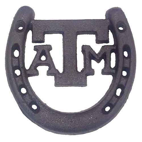 Cast Iron Texas A & M Horseshoe Lucky Horse Shoe. Gig Em Aggies A and M