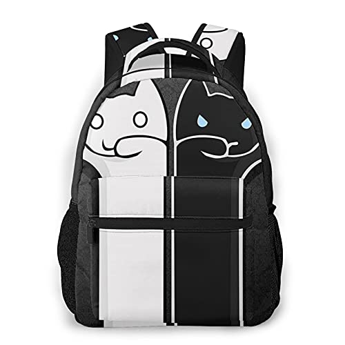 Zhouwe Zaini in bianco e nero gatto per la scuola libri borse college borsa da trasporto leggero viaggio sport Daypacks