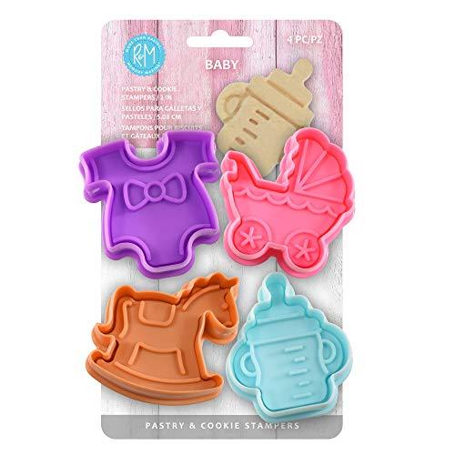 R&M International Baby, conjunto de 4 peças para estampagem, padrão de 5 cm, prata