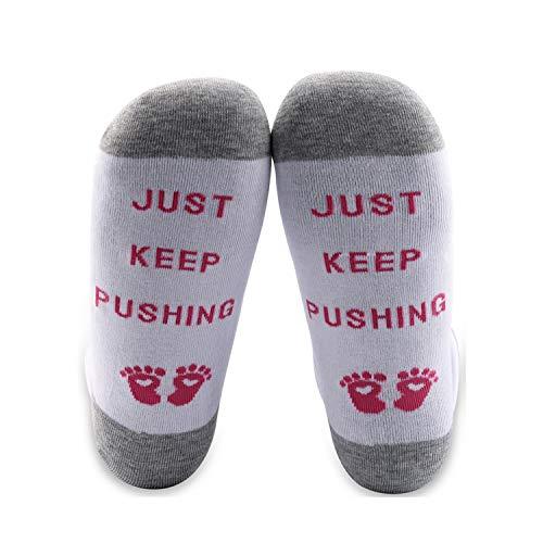MYSOMY Just Keep Pushing Calcetines de entrega de mano de obra Calcetines momia para ser regalos nueva mamá embarazo regalos bebé ducha regalos