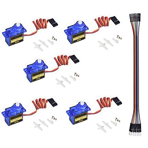 QooTec SG90 Micro Servo Motor Set of 5 for RC Robot Helicopter Airplane Controls Car Boat EU043