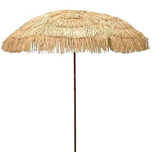 Homfure Parasole di Paglia Ombrellone da Spiaggia,Ombrellone con Tetto in Paglia da 2,25 m con Ombrellone Impermeabile Ombrellone Hawaiano per Piscina Piccolo Bistrot Giardino E Prato