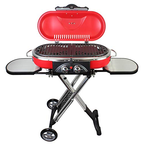 Mototeks, Inc. Portable BBQ Grill Propane Matchless Lighting Foldable CART for Camping Outdoor (Red) Accessories Camping Grills Stove