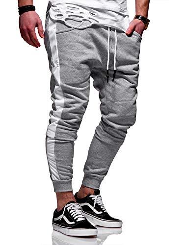 behype. Herren Lange Trainingshose Jogging-Hose Sport-Hose mit Side-Stripe 60-0351 Hellgrau L