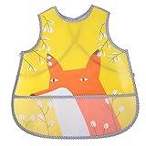 Babero de bebé, caricatura impermeable, sin mangas, chaleco de alimentación para bebés, ropa de cama con bolsillo grande (2#)