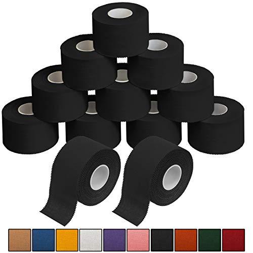 ALPIDEX 12 x Cinta Adhesiva Deportiva 3,8 cm x 10 m, Color:Negro