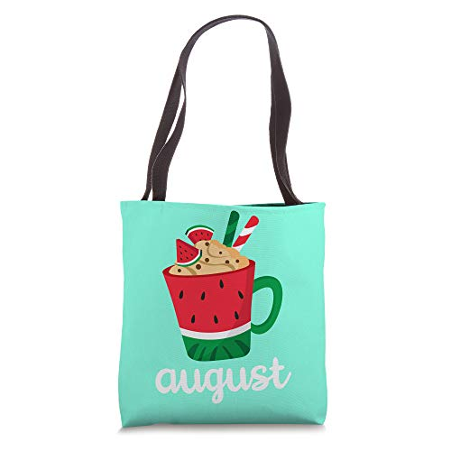 Funny August Month Summer Watermelon Themed With Mug Design Tote Bag