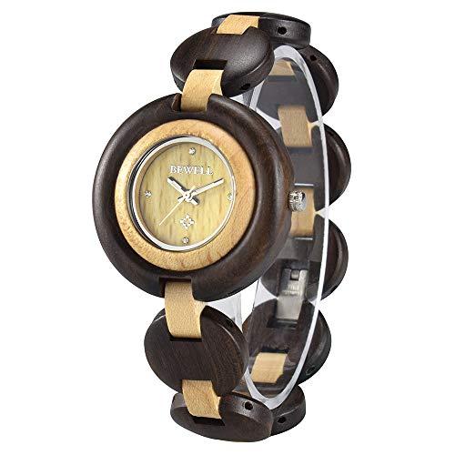 BEWELL Reloj Mujer Madera Analógico Cuarzo Japonés con Correa de Madera Redondo Luminosidad Function Casual Relojes de Pulsera (Rojo & Beige)