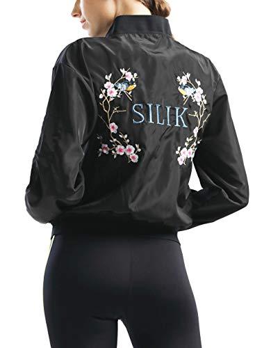 SILIK Womens Running Athletic Hoodies Chaqueta Sudadera ligera de manga larga Jersey Cremallera completa con bolsillo lateral Impreso Negro X-Large