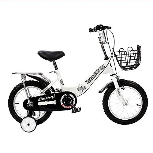 CKCL Bicicleta para Niños para Niñas Niños Niños Pequeños Plegable 12 14 16 18 Ruedas De 20 Pulgadas para Edades De 2 Años En Adelante con Ruedas De Entrenamiento Flash,Blanco,18inches