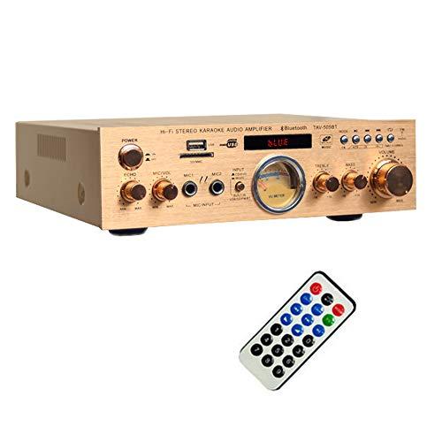 ONLYU Home-Audio-Verstärker Stereo-Leistungsverstärker integrierte Bluetooth-2.1-Kanal, Digital-AV-Surround-Verstärker für Karaoke Haushalt Kino,Gold
