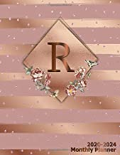 R 2020-2024 Monthly Planner: Initial Monogram Letter R Five Year Organizer with 60 Months Spread View. Trendy 5 Year Calendar, Journal, Agenda & ... Notebook - Glossy Rose Gold Metallic Floral