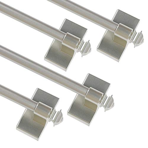 Turquoize Magnetic Curtain Rod Multi-Use Adjustable Cafe Sidelight Magnetic Rods, 16-28 Magnetic Curtain Rod, Nickel, 4-Pack