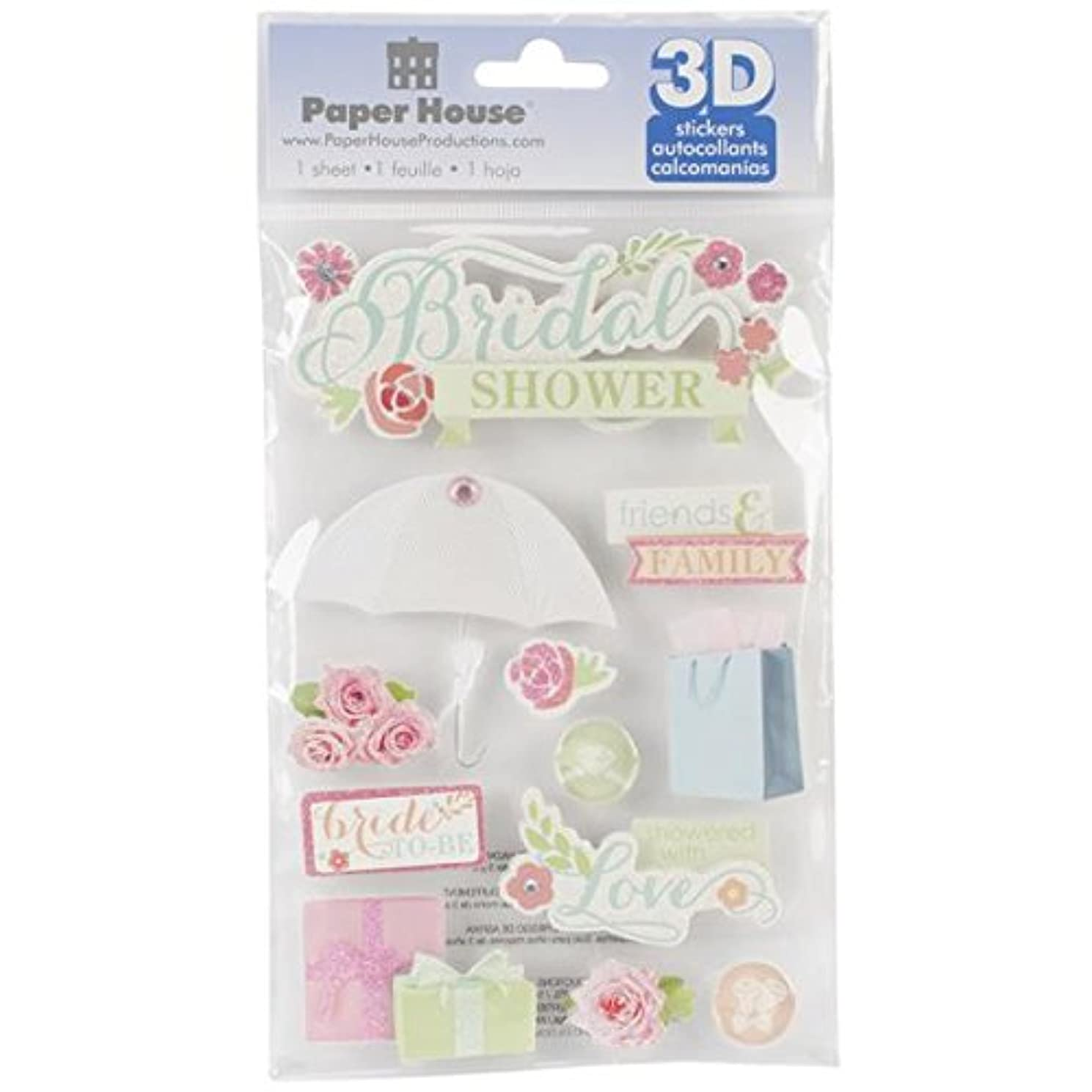 Paper House Productions STDM-0198E 3D Cardstock Stickers, Bridal Shower (3-Pack)