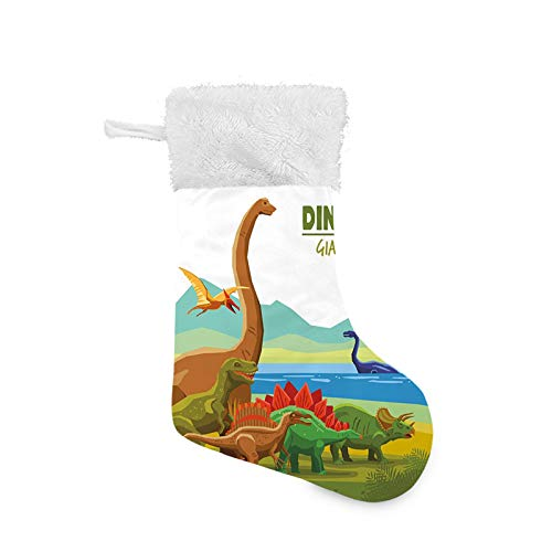 Jieaiuoo Christmas Stocking Hanging Decoration,Flying Swimming and Land Dinosaurs with Lake and Mountains Dino Park Alive Theme,Christmas Holiday Ornaments Home Decor Toys Candy Gift Bag