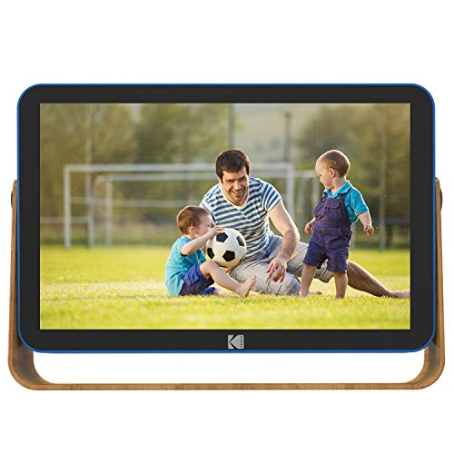 KODAK RCF-108 WiFi Digital Bilderrahmen, 10 Zoll 1280x800 IPS Touchscreen, eingebautem 4000mAh Li-Akku, 10G Cloud-Speicher, 8 GB Speicher mit Bild Musik Video Digital Fotorahmen (Blau)