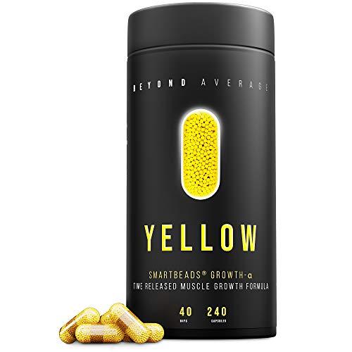 Beyond Average YELLOW | Time-Released 24h Kreatin + Beta-Alanin | 240 Smartbeads Grow-M-Alpha Kapseln | Die neue Supplement-Generation