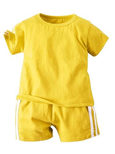 TSSOE Unisex Baby Jogginganzug Kurzarm T-Shirt und Hose Sport Trainingsanzug Sportanzug Bekleidungsset für Mädchen Jungen Gelb 98-104