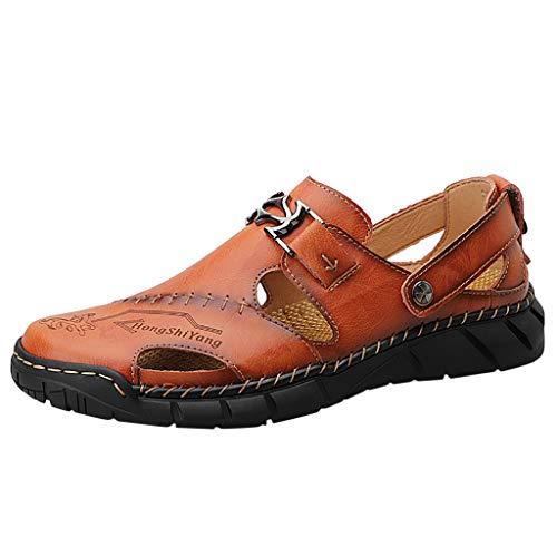 Zapatos Casuales De Talla Grande para Hombre Sandalias Deportivas De Verano Aire Libre Antideslizante Transpirable Zapatos Super Ligeros Elegantes Zapatillas De Playa Vintage De CañA Alta Marrón
