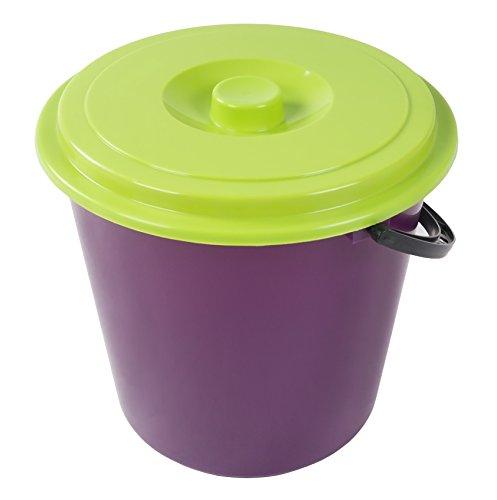 Unbekannt Eimer mit Deckel 10L Wassereimer Putzeimer Windeleimer Mülleimer Plastikeimer, Farbe:lila