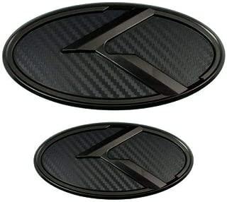 Xitek KA-S2MCB 2X New Black Carbon Fiber K Front Hood Trunk Rear Logo Badge Emblem Fit KI OPTIMA K5 2011-2018