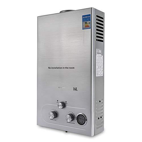 Jasemy - Calentador de agua caliente de gas natural, 16 L, 32 kW, para interiores, apto para cocina y baño, color blanco
