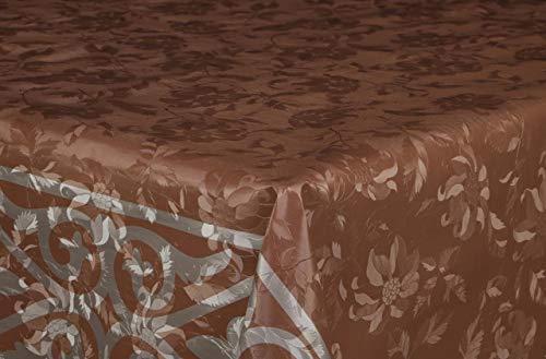 ÖyKüm Vinyl tafelloper, per meter, tafelband, tafelkleed, 140 cm, Bonnie, tuin, keuken, eettafel, bruin grijs 300cm x 140cm Bruin Grijs
