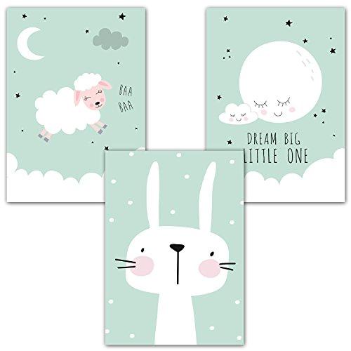 "Frechdax® 3er Set Poster Kinderzimmer Deko - Bilder Babyzimmer DIN A4 - Wandbilder Mädchen Junge - Kinderposter (3er Set\""Mint, Mond, Hase\"")"