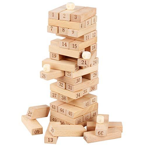 SANLAI Torre de Tambor de apilamiento de Madera,Juego clásico Tradicional Jenga Adecuado para Entretenimiento Familiar,Actividades de Fiesta, Noches de Juegos,Regalos para niños con niños