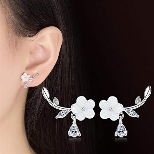 Pendientes de plata de ley 925 retro simple circonita cúbica concha flor moda pendientes de plata accesorios de joyería